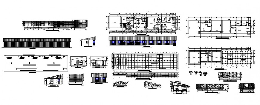 Office building elevation, section, plan and constructive structure details dwg file