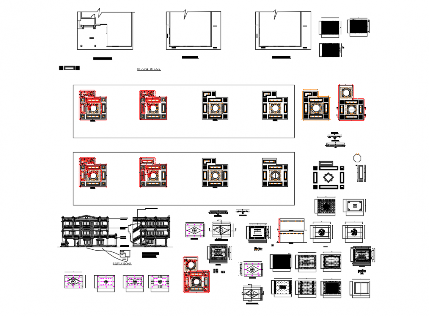 Office building elevation, section and auto-cad details dwg file