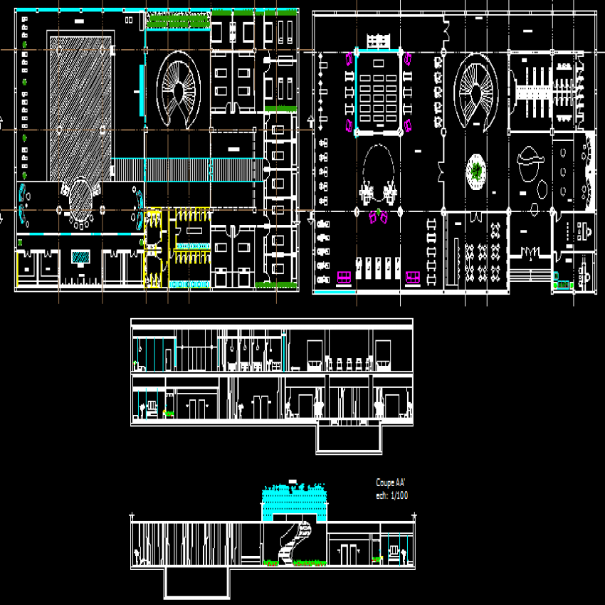 Office building elevation, section and floor plan details dwg file