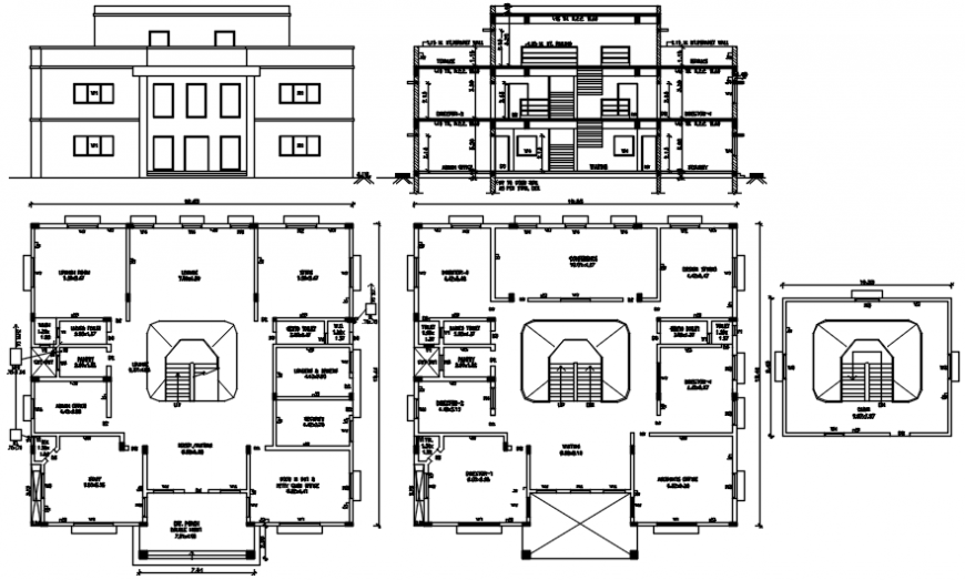 Office building elevation, section and floor plan structure drawing details dwg file