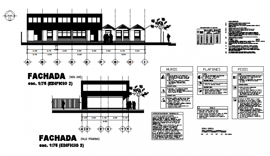 Office building facade and cut elevation details dwg file