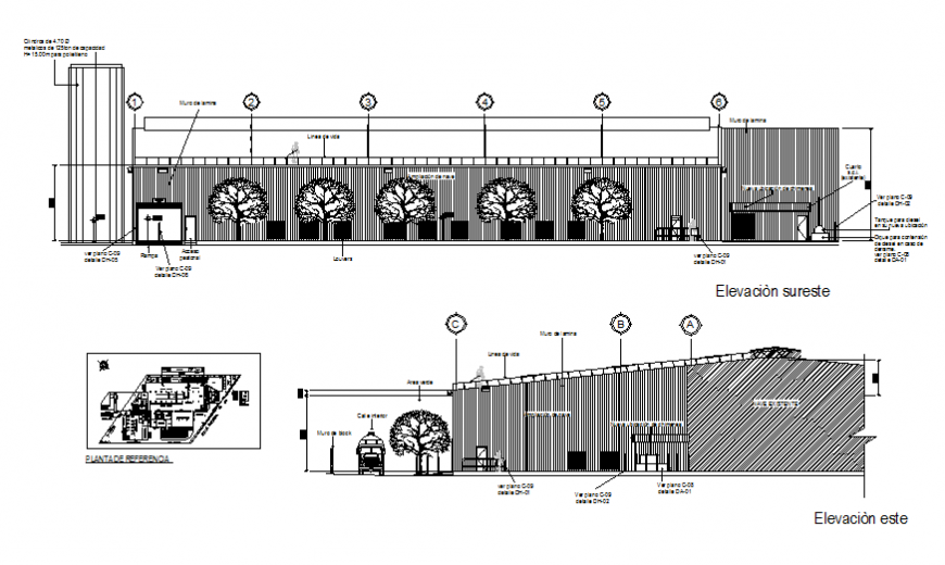 Office building facade and cut elevation with reference plan cad drawing details dwg file