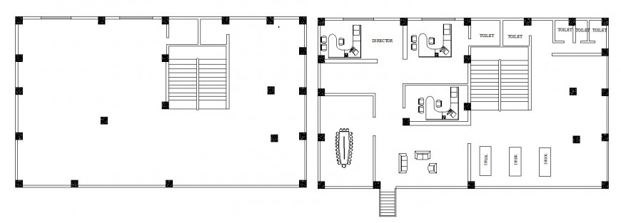 Office building floor layout plan and framing plan structure cad drawing details dwg file