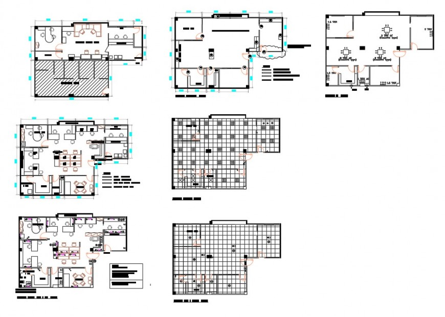 Office building floors and cover plan cad drawing details dwg file