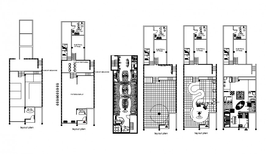Office building floors layout plan, electric fitting and auto-cad details dwg file