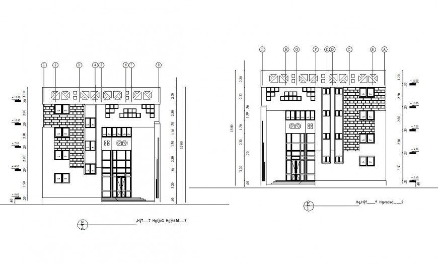 Office building front and back elevation cad drawing details dwg file
