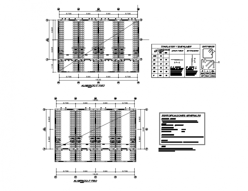 Office building front and back sectional-constructive details dwg file