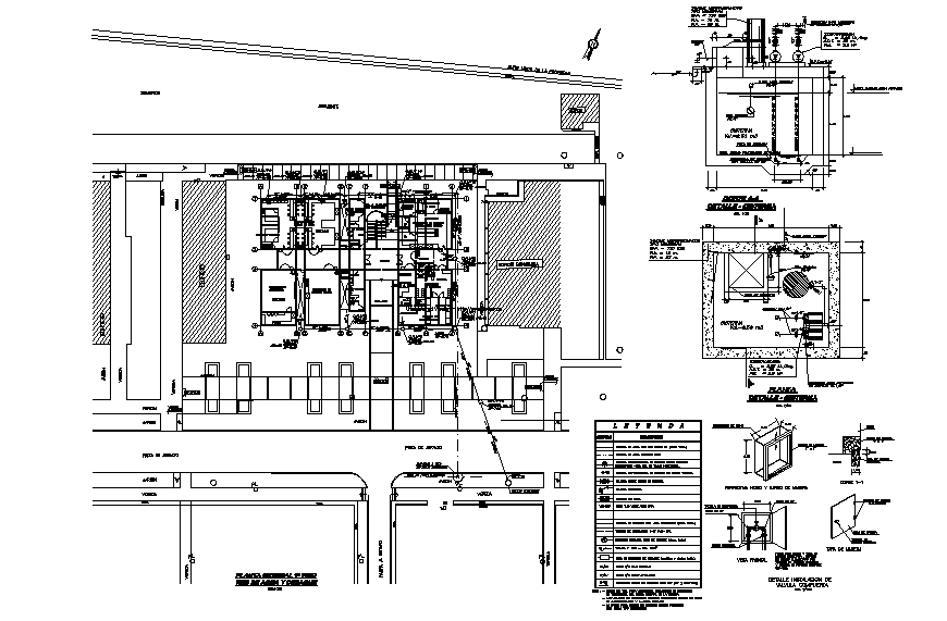 Office building general plan details with water tank installation dwg file