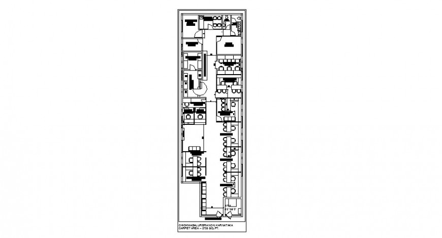 Office building ground floor distribution plan details with furniture dwg file