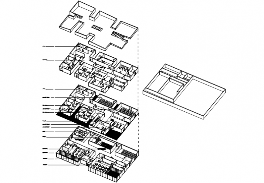office building isometric floor plan cad drawing details dwg file