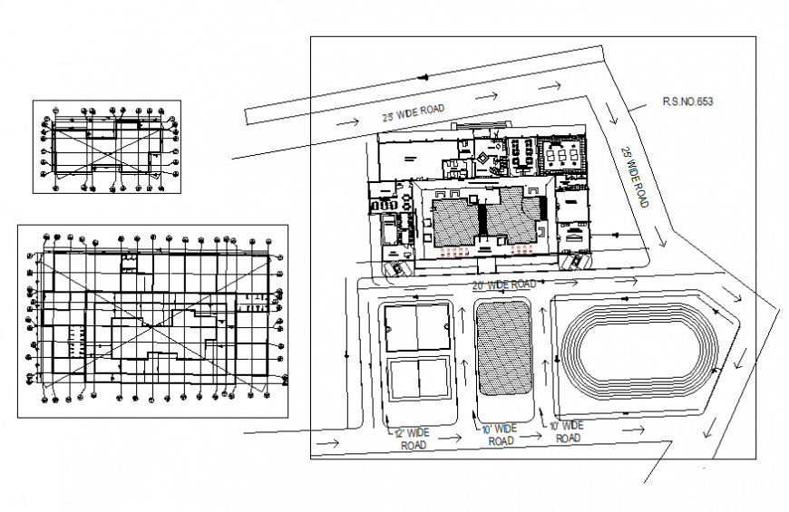 Office building layout plan and site plan cad drawing details dwg file