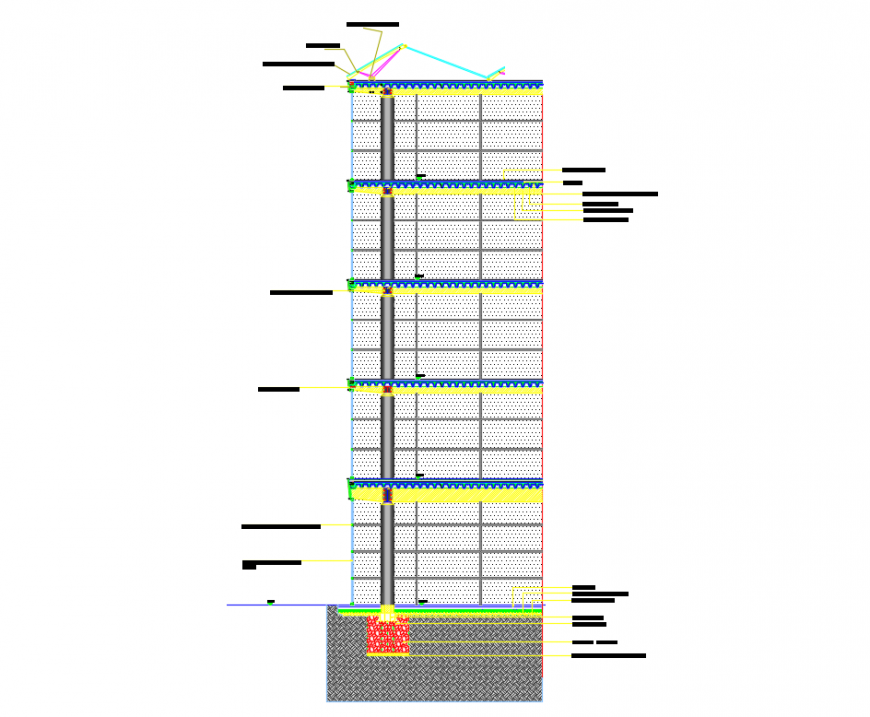 Office building multi flooring front sectional details dwg file