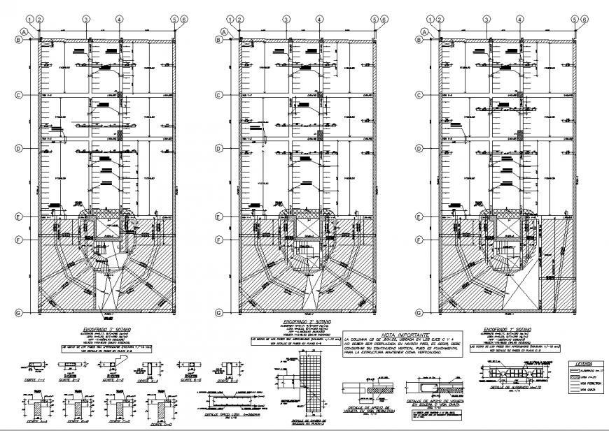 Office Building parking detail and construction detail plan in dwg file.