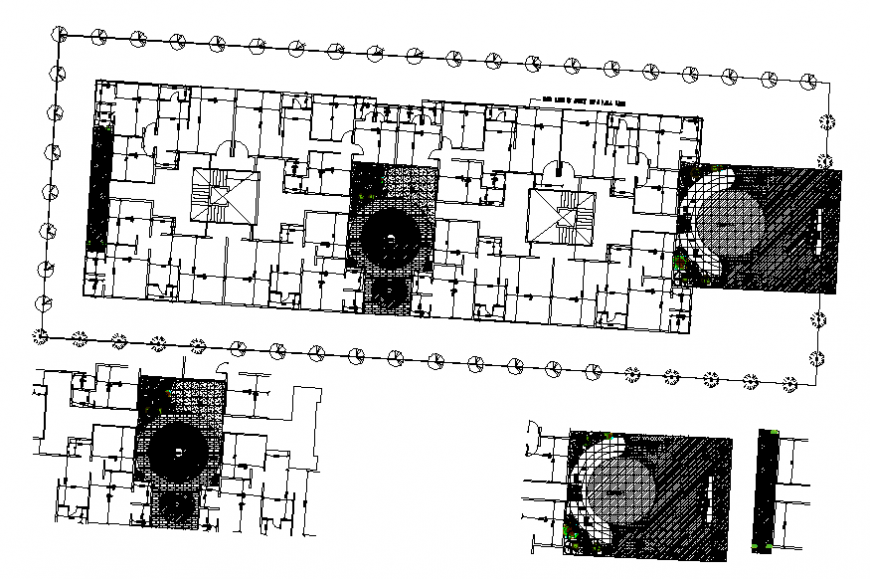 Office building plan and landscaping structure details dwg file