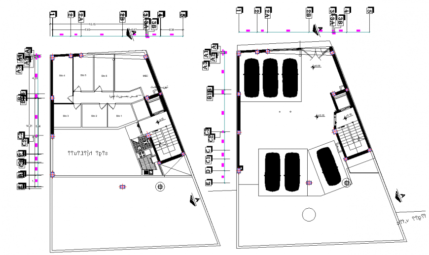 Office building plan drawing in dwg file.