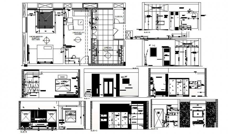 Office building room plan elevation and section autocad file