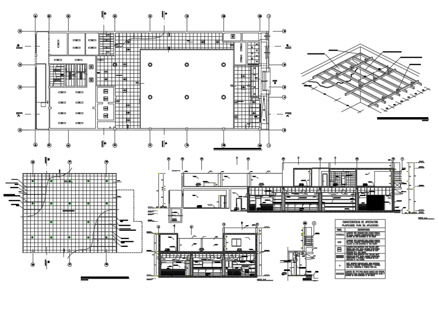 Office building section and ceiling construction cad drawing details dwg file