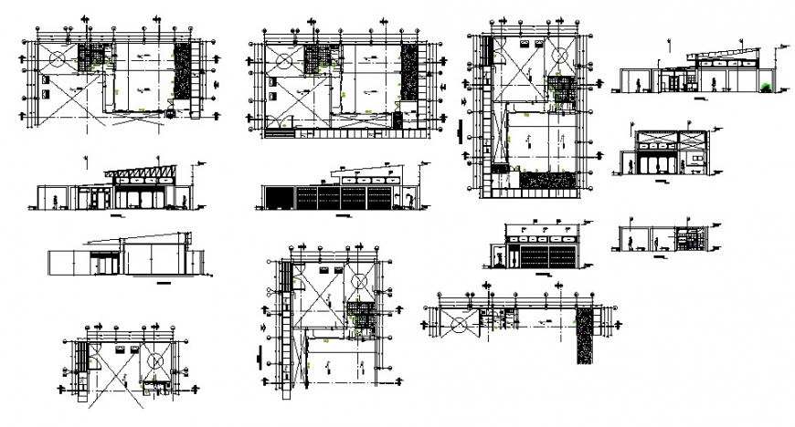 Office building section and sanitary installation details dwg file