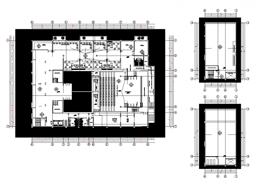 Office building structure detail plan layout autocad file