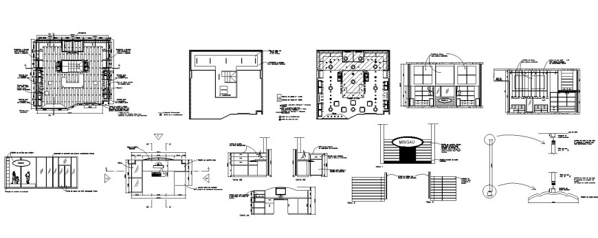 Office building structure with furniture detailing 2d view layout dwg file