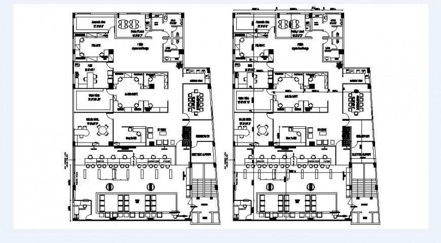 Office building two floor layout plan with furniture cad drawing details dwg file