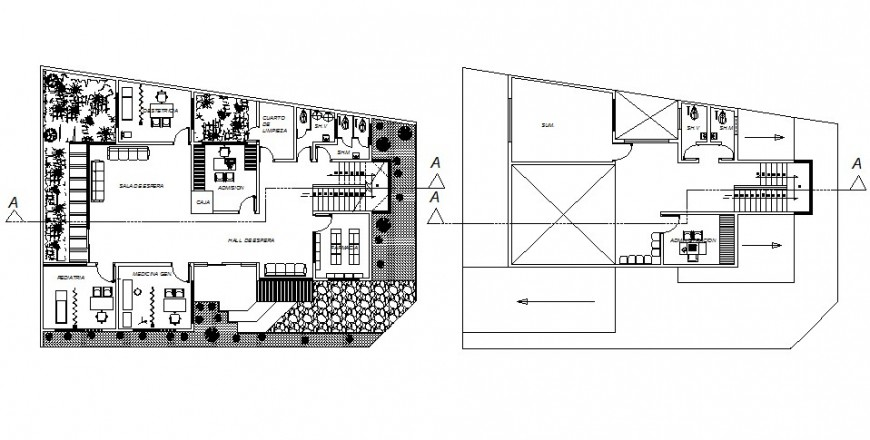 Office building units details work plan 2d view autocad software file