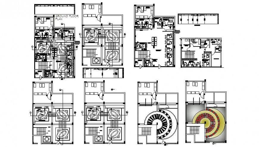 Office building units drawings 2d view plan and ceiling details autocad file
