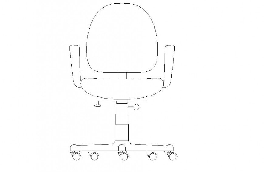 Office chair front view detail dwg file