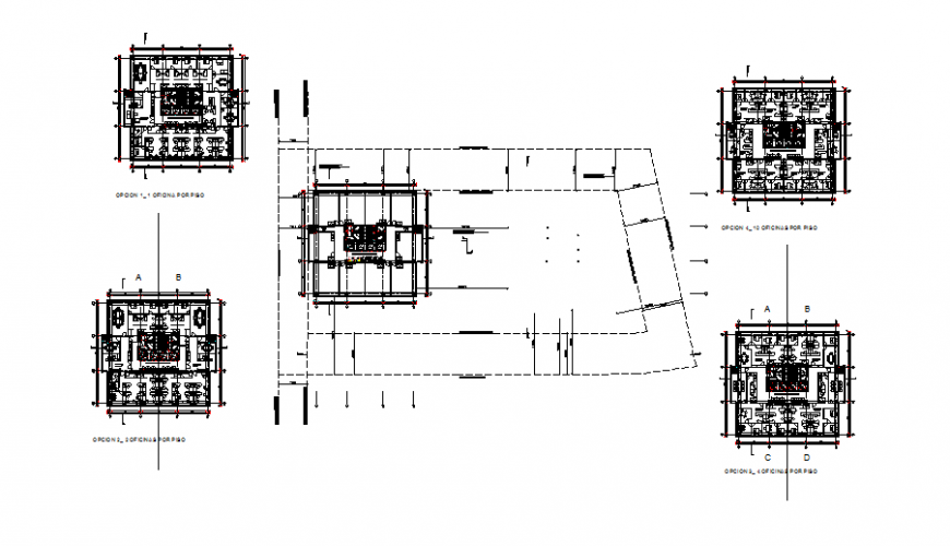 Office commercial building plan autocad file