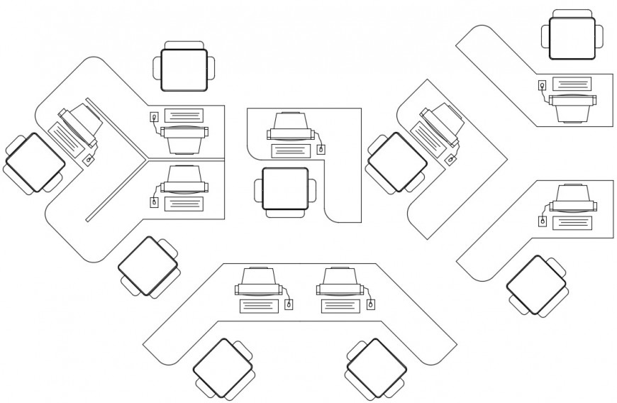 Office computer 2d top view concept file