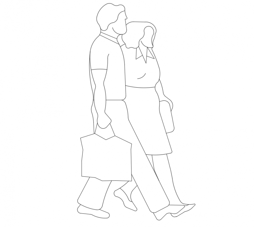 Office couple 2d elevation block cad drawing details dwg file