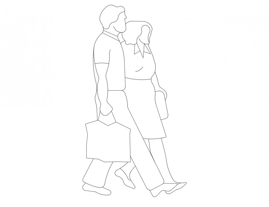 Office couple elevation 2d block cad drawing details dwg file