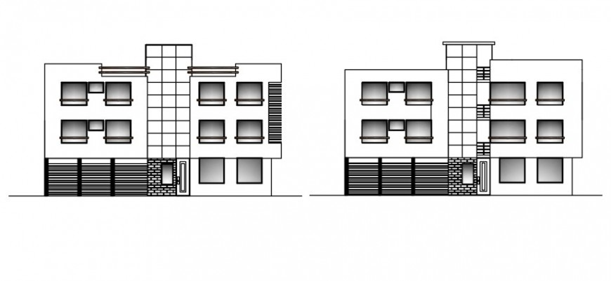 Apartment blocks front and back elevation drawing details dwg file