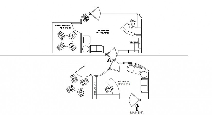 Office departments plan with furniture layout cad drawing details dwg file