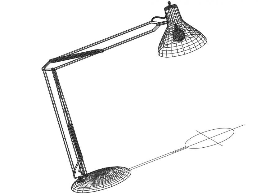 Office desk lamp design cad 3d model dwg file