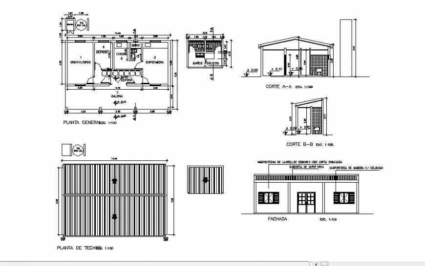 Office elevation, section, plan and foundation plan details dwg file