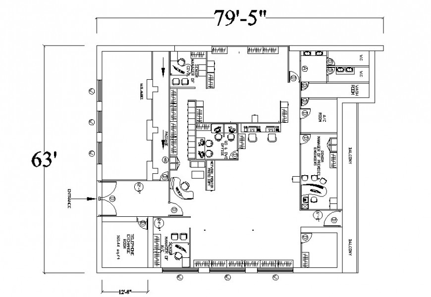Office first floor distribution with furniture cad drawing details dwg file