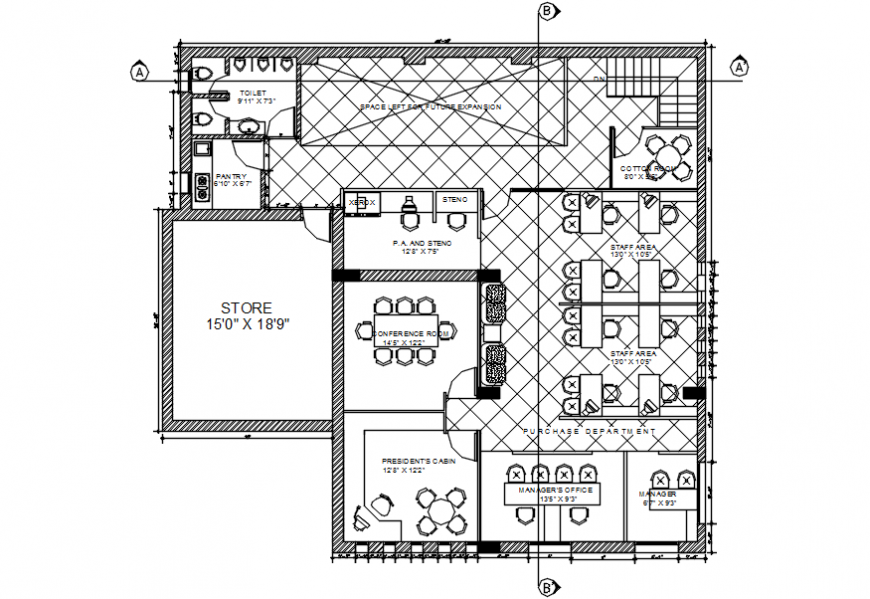 Office first floor layout plan auto-cad drawing details dwg file