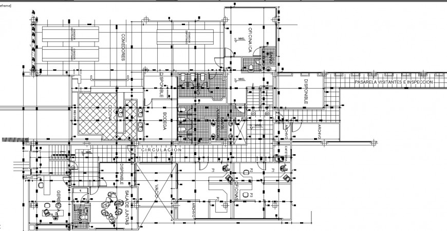 Office floor distribution with furniture cad drawing details dwg file