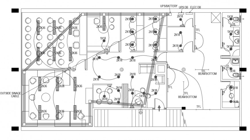 Office floor layout plan with electrical installation cad drawing details dwg file