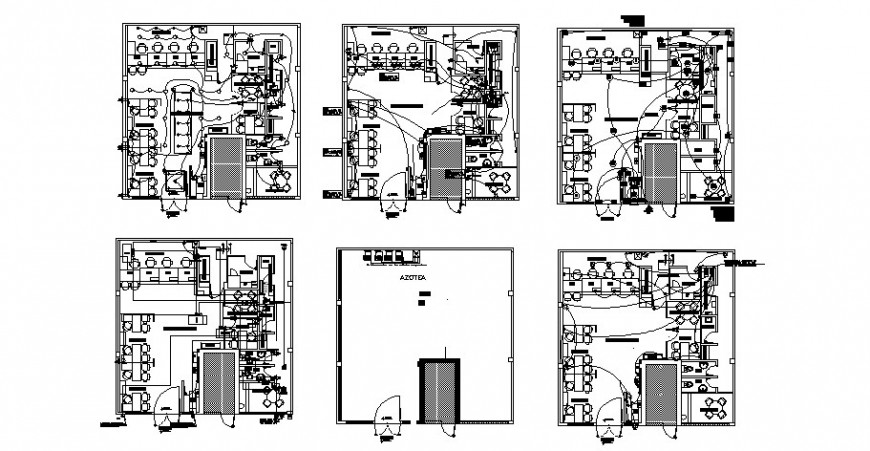Office floor plan details with electrical installation layout auto-cad dwg file