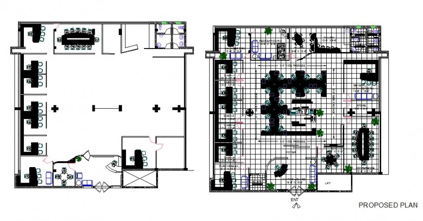 Office floor proposed layout plan with furniture cad drawing details dwg file