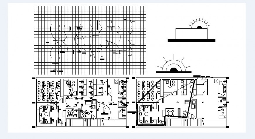 Office floors layout plan and electrical installation plan drawing details dwg file
