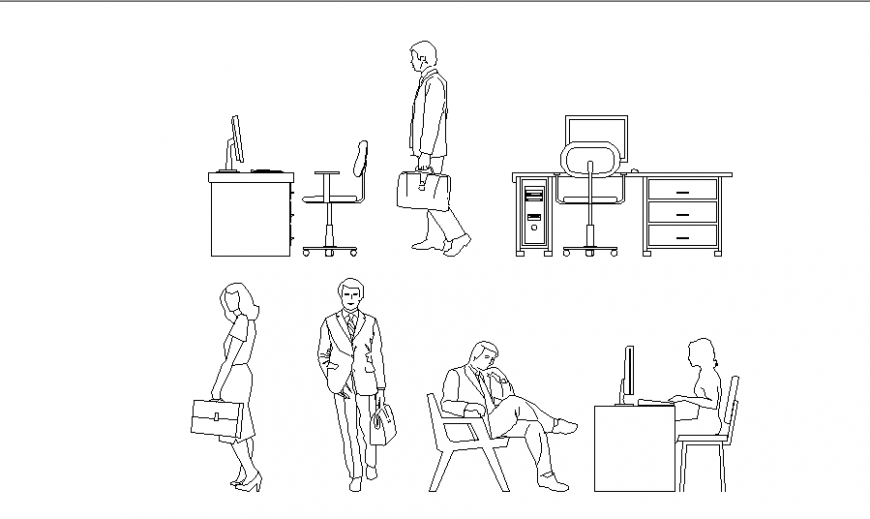 Office furniture and people blocks cad drawing details dwg file