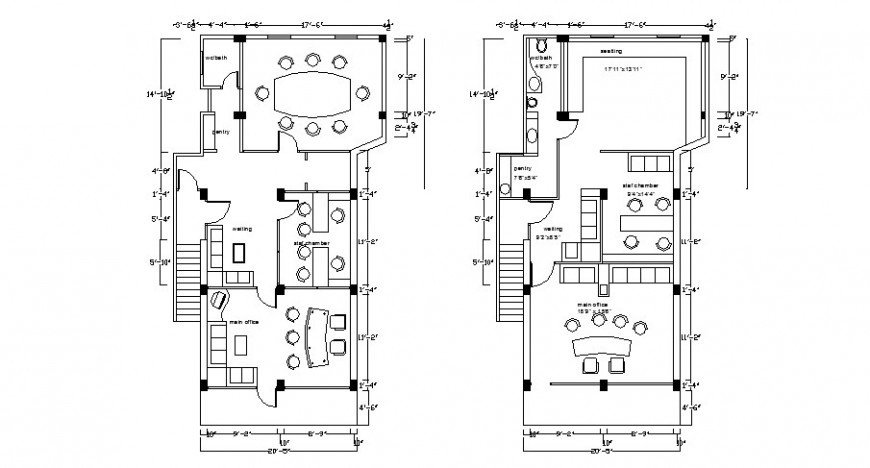 Office ground and first floor plan details with furniture layout dwg file