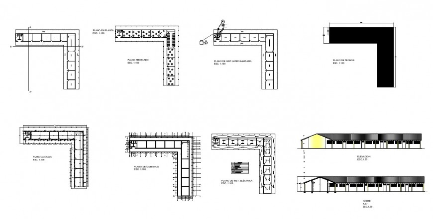 Office in airport building design with plan in dwg file