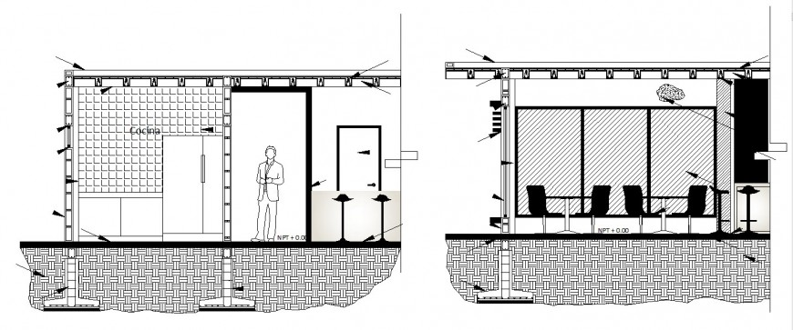 Office kitchen constructive section cad drawing details dwg file