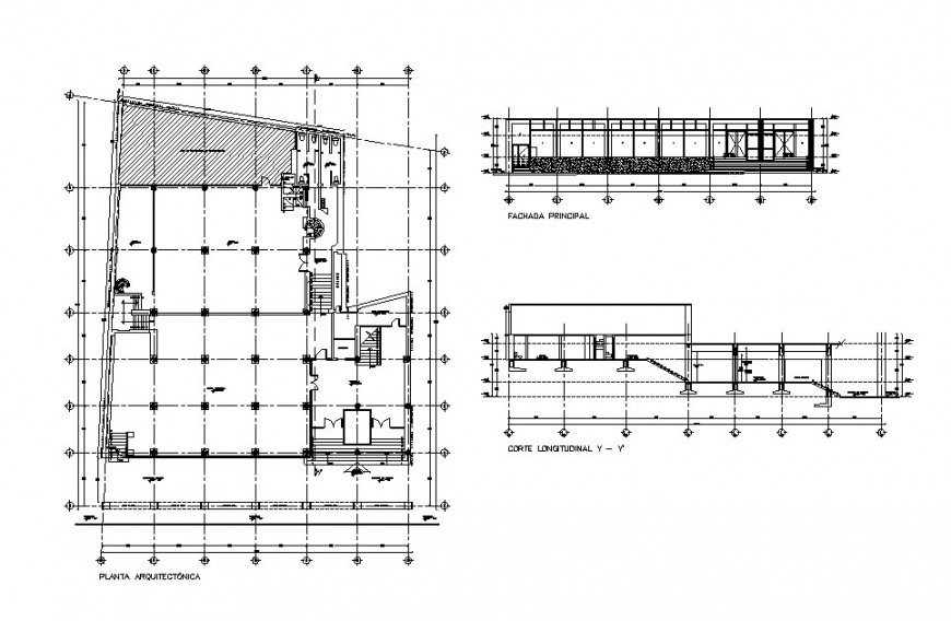 Office main and back section, plan and sanitary installation details dwg file
