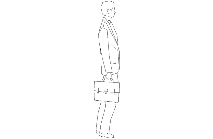 Office man people 2 d detail layout dwg file