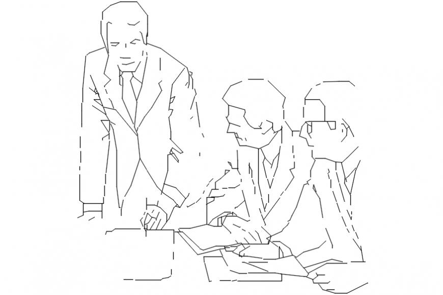 Office men elevation 2d blocks drawing details dwg file